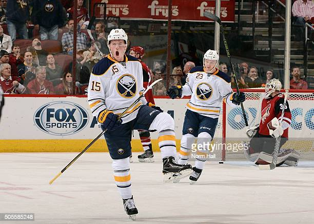 Jack Eichel of the Buffalo Sabres celebrates following his second period goal against the Arizona Coyotes at Gila River Arena on January 18 2016 in...