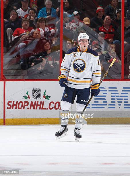 Jack Eichel of the Buffalo Sabres celebrates his first period goal against the Ottawa Senators at Canadian Tire Centre on November 29 2016 in Ottawa...