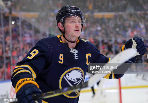 Jack Eichel of the Buffalo Sabres celebrates his penalty shot goal in overtime against the Edmonton Oilers at KeyBank Center on January 2 2020 in...