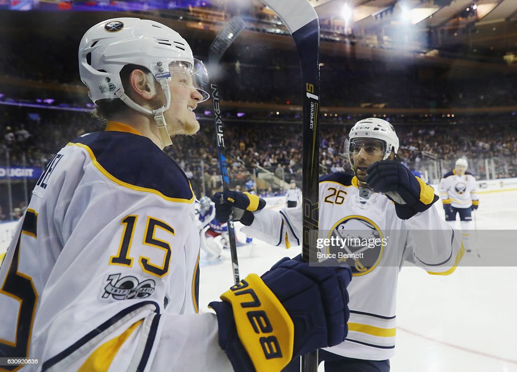 12a7a8dd7 Jack Eichel of the Buffalo Sabres celebrates his powerplay goal at ...