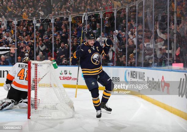 Jack Eichel of the Buffalo Sabres celebrates his second first period goal during an NHL game against the Philadelphia Flyers on December 8 2018 at...