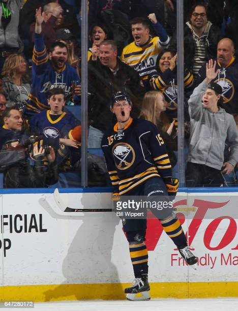 Jack Eichel of the Buffalo Sabres celebrates his second period goal against the Arizona Coyotes during an NHL game at the KeyBank Center on March 2...