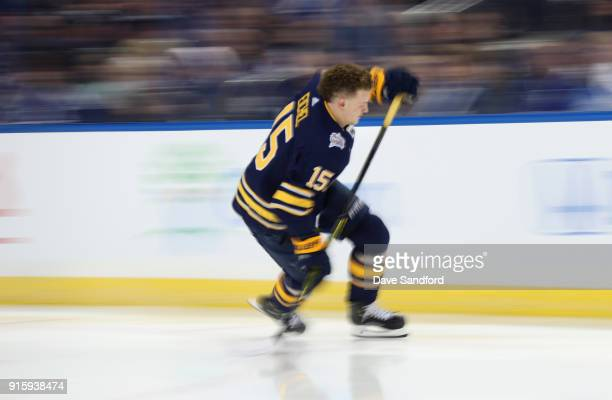 Jack Eichel of the Buffalo Sabres competes in the Enterprise NHL Fastest Skater during 2018 GEICO NHL AllStar Skills Competition at Amalie Arena on...