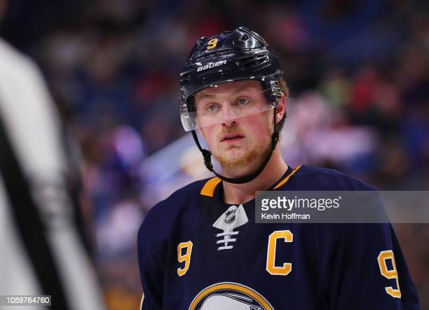 Jack Eichel of the Buffalo Sabres during the game against the Montreal Canadiens at the KeyBank Center on October 25 2018 in Buffalo New York