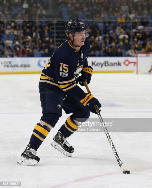 Jack Eichel of the Buffalo Sabres during the game against the Ottawa Senators at the KeyBank Center on December 12 2017 in Buffalo New York