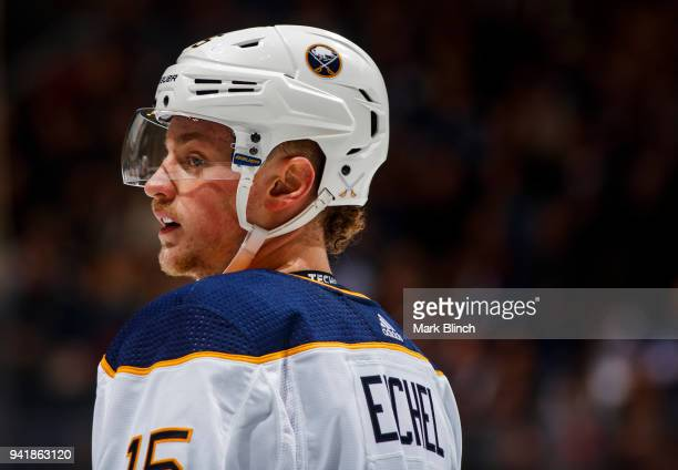 Jack Eichel of the Buffalo Sabres looks on while playing against the Toronto Maple Leafs during the first period at the Air Canada Centre on April 2...
