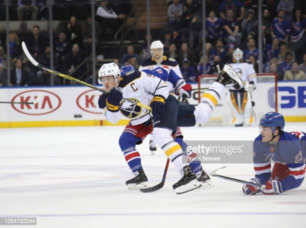 Jack Eichel of the Buffalo Sabres misses an empty net against the New York Rangers during the third period at Madison Square Garden on February 07...