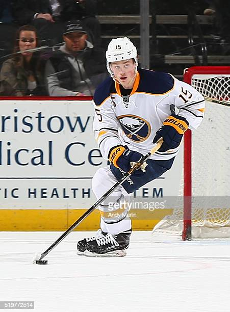 Jack Eichel of the Buffalo Sabres plays the puck during the game against the New Jersey Devils at the Prudential Center on April 5 2016