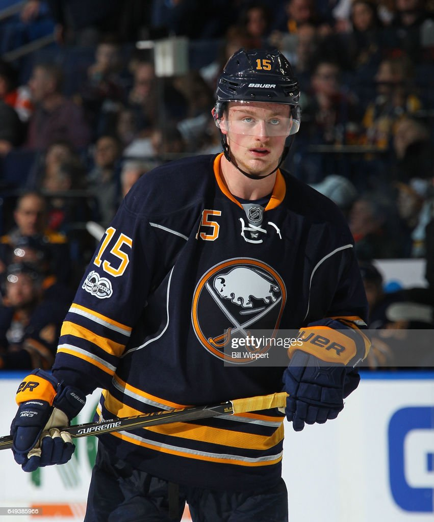 Jack Eichel #15 of the Buffalo Sabres prepares for a faceoff against the Philadelphia Flyers during an NHL game at the KeyBank Center on March 7, 2017 in Buffalo, New York.