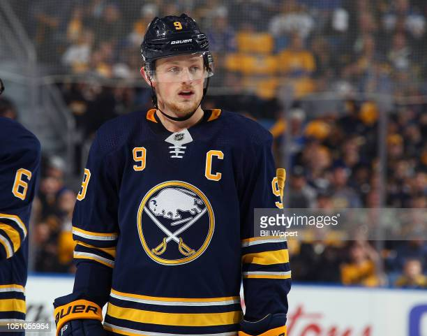 Jack Eichel of the Buffalo Sabres skates against the Boston Bruins during an NHL game on October 4 2018 at KeyBank Center in Buffalo New York
