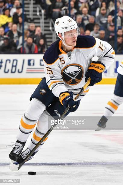 Jack Eichel of the Buffalo Sabres skates against the Columbus Blue Jackets on March 28 2017 at Nationwide Arena in Columbus Ohio Columbus defeated...