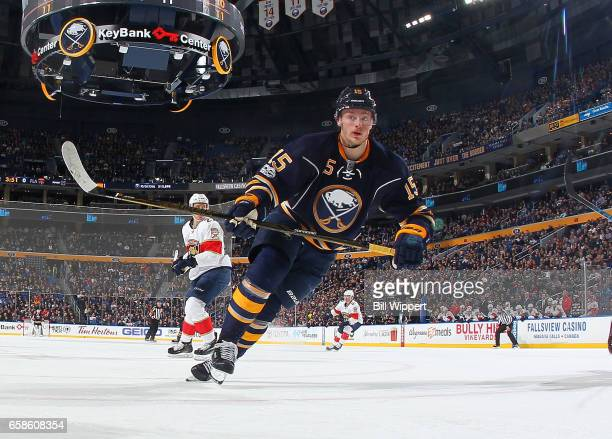 Jack Eichel of the Buffalo Sabres skates against the Florida Panthers during an NHL game at the KeyBank Center on March 27 2017 in Buffalo New York...
