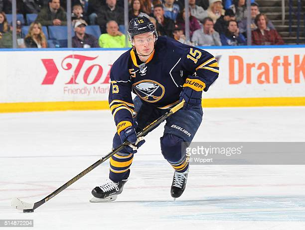 Jack Eichel of the Buffalo Sabres skates against the Minnesota Wild during an NHL game on March 5 2016 at the First Niagara Center in Buffalo New York