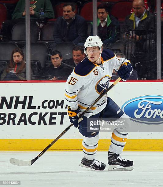 Jack Eichel of the Buffalo Sabres skates against the New Jersey Devils at the Prudential Center on April 5 2016 in Newark New Jersey The Sabres...