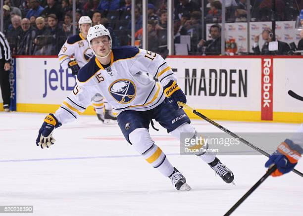 Jack Eichel of the Buffalo Sabres skates against the New York Islanders at the Barclays Center on April 9 2016 in the Brooklyn borough of New York...