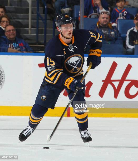 Jack Eichel of the Buffalo Sabres skates against the New York Islanders during an NHL game at the KeyBank Center on April 2 2017 in Buffalo New York