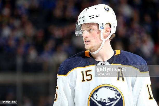 Jack Eichel of the Buffalo Sabres skates against the New York Rangers at Madison Square Garden on March 24 2018 in New York City