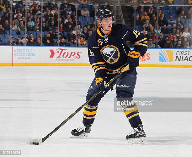 Jack Eichel of the Buffalo Sabres skates against the Ottawa Senators during an NHL game on March 18 2016 at the First Niagara Center in Buffalo New...