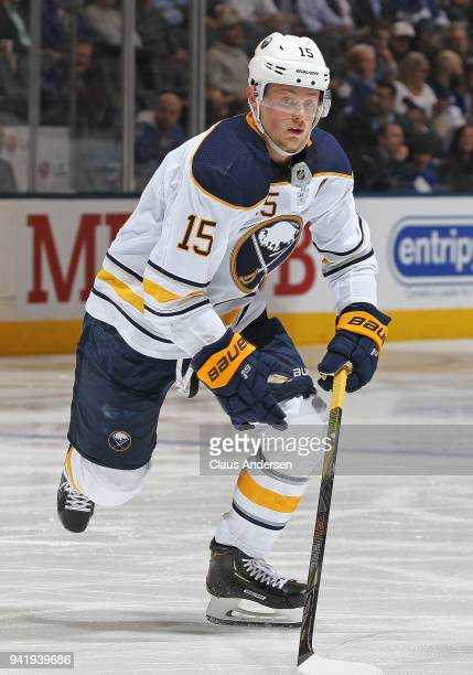 Jack Eichel of the Buffalo Sabres skates against the Toronto Maple Leafs during an NHL game at the Air Canada Centre on April 2 2018 in Toronto...
