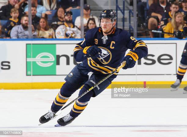 Jack Eichel of the Buffalo Sabres skates against the Vegas Golden Knights during an NHL game on October 8 2018 at KeyBank Center in Buffalo New York...