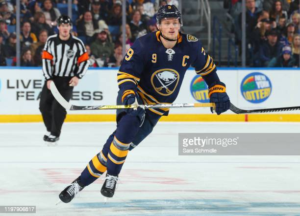 Jack Eichel of the Buffalo Sabres skates during an NHL game against the Florida Panthers on January 4 2020 at KeyBank Center in Buffalo New York...
