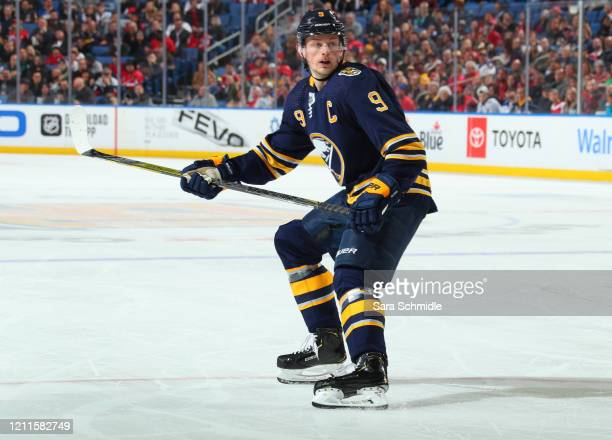Jack Eichel of the Buffalo Sabres skates during an NHL game against the Washington Capitals on March 9 2020 at KeyBank Center in Buffalo New York