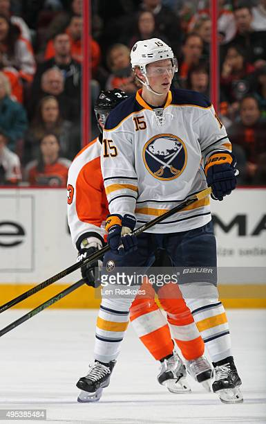 Jack Eichel of the Buffalo Sabres skates in front of Radko Gudas of the Philadelphia Flyers on October 27 2015 at the Wells Fargo Center in...