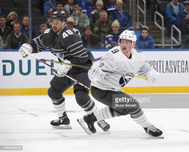 Jack Eichel of the Buffalo Sabres skates in the game between Atlantic Division v Pacific Division during the 2020 Honda NHL AllStar Game at...