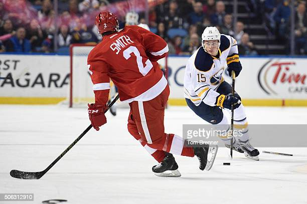 Jack Eichel of the Buffalo Sabres skates with the puck during the game against the Detroit Red Wings on Friday January 22 2016 at the First Niagara...