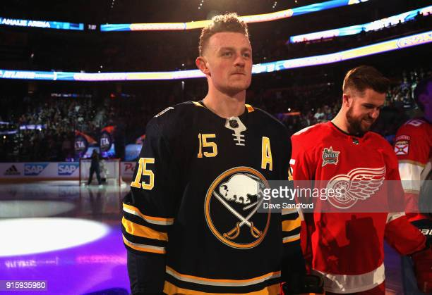 Jack Eichel of the Buffalo Sabres stands on the ice during player introductions prior to the 2018 GEICO NHL AllStar Skills Competition at Amalie...