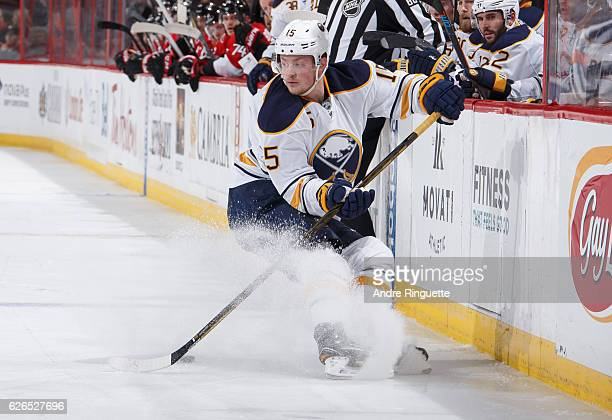Jack Eichel of the Buffalo Sabres stickhandles the puck against the Ottawa Senators at Canadian Tire Centre on November 29 2016 in Ottawa Ontario...