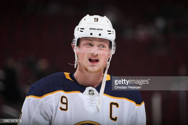 Jack Eichel of the Buffalo Sabres warms up before the NHL game against the Arizona Coyotes at Gila River Arena on October 13 2018 in Glendale Arizona...