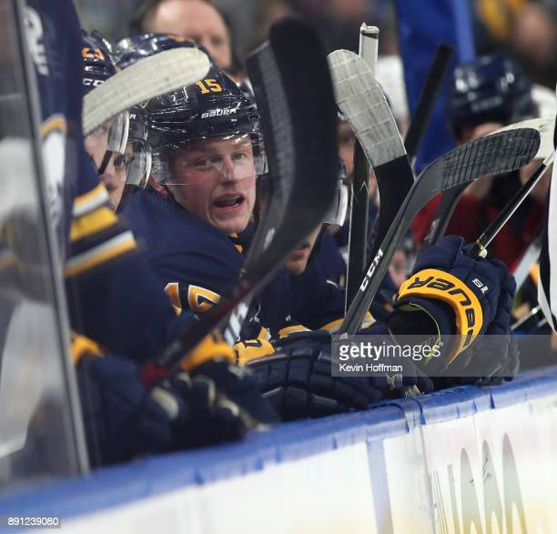 Jack Eichel of the Buffalo Sabres watches play from the bench during the second period against the Ottawa Senators at the KeyBank Center on December...