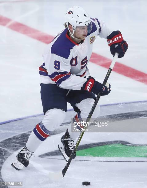Jack Eichel of USA during the international friendly game between Germany and USA ahead of the 2019 IIHF Ice Hockey World Championship at SAP Arena...