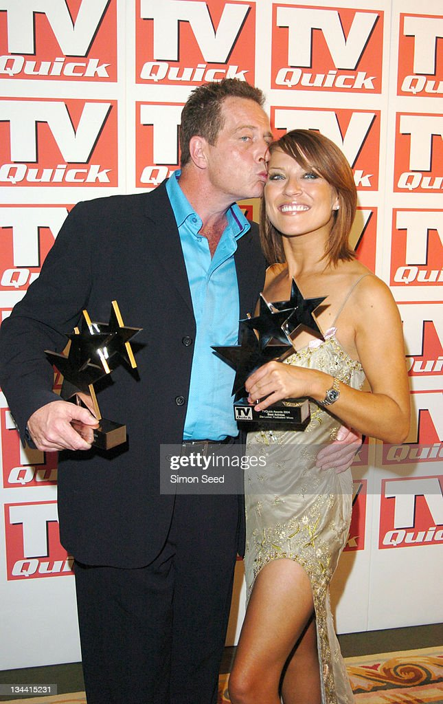 Jack Ellis and Zoe Lucker during 2004 TV Quick Soap Awards - Press Room at Dorchester Hotel in London, Great Britain.