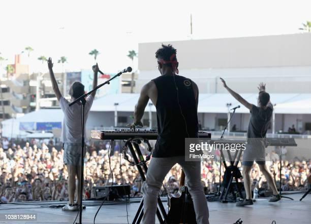 Jack Evan Met Adam Brett Met and Ryan Met of AJR perform on Downtown Stage during the 2018 Life Is Beautiful Festival on September 22 2018 in Las...