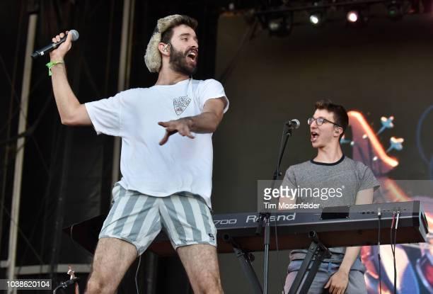 Jack Evan Met and Ryand Met of AJR perform during the 2018 Life is Beautiful Festival on September 22 2018 in Las Vegas Nevada