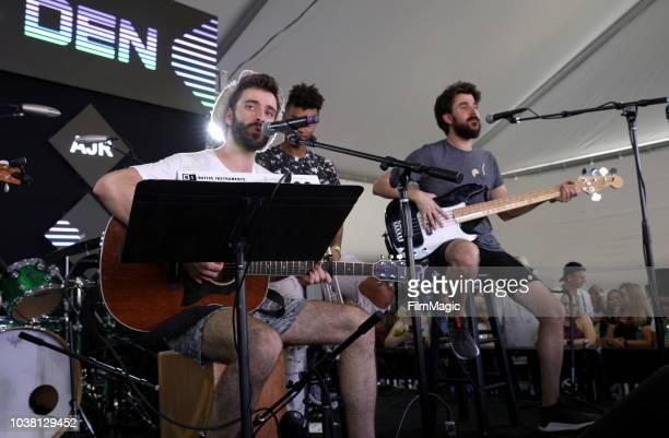 Jack Evan Met JJ Kirkpatrick and Adam Brett Met of AJR perform onstage at the Toyota Music Den during the 2018 Life Is Beautiful Festival on...