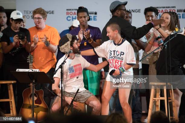 Jack Evan Met of AJR and activists Matt Deitsch Emma Gonzalez and Lauren Hogg attend March For Our Lives' 'Road To Change' town hall on August 10...