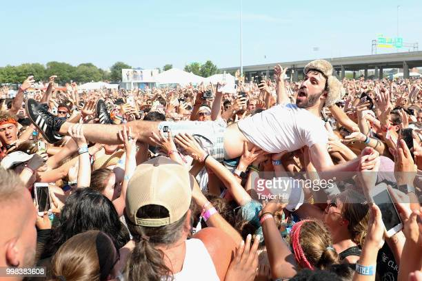 Jack Evan Met of AJR crowdsurfs during the 2018 Forecastle Music Festival at Louisville Waterfront Park on July 13 2018 in Louisville Kentucky