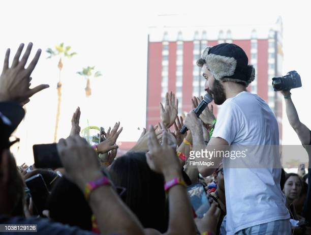 Jack Evan Met of AJR performs at Downtown Stage during the 2018 Life Is Beautiful Festival on September 22 2018 in Las Vegas Nevada