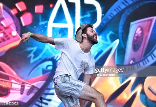 Jack Evan Met of AJR performs during the 2018 Life is Beautiful Festival on September 22 2018 in Las Vegas Nevada
