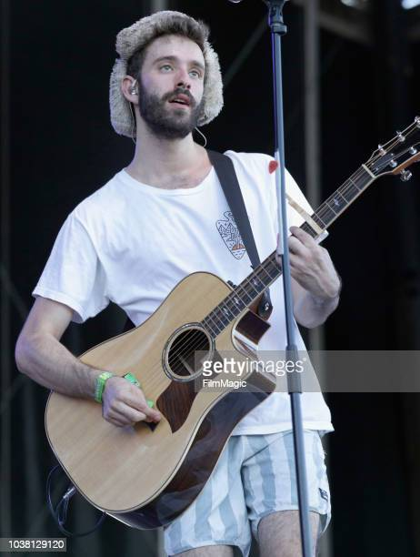 Jack Evan Met of AJR performs on Downtown Stage during the 2018 Life Is Beautiful Festival on September 22 2018 in Las Vegas Nevada