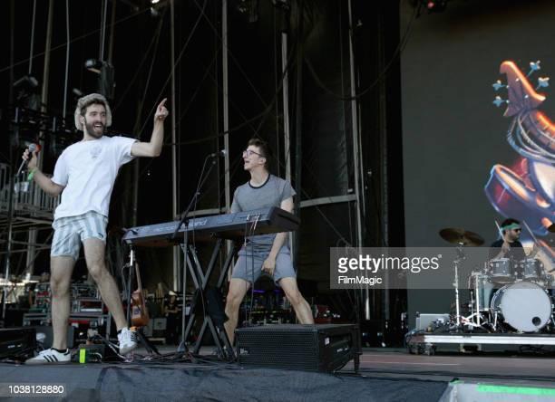 Jack Evan Met Ryan Met and Adam Brett Met of AJR perform on Downtown Stage during the 2018 Life Is Beautiful Festival on September 22 2018 in Las...