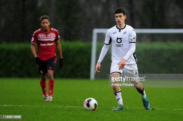 Jack Evans of Swansea City u23 in action during the Premier League 2 Division Two match between Swansea City u23s and Middlesbrough u23s at Swansea...