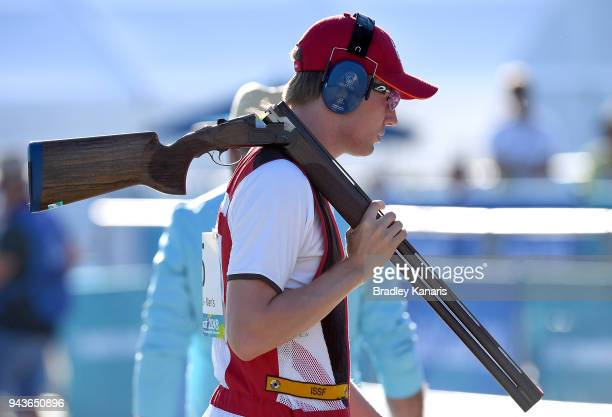 Jack Fairclough of England in the Men's final of the Skeet event during Shooting on day five of the Gold Coast 2018 Commonwealth Games at Belmont...