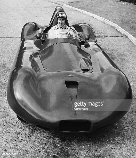 Jack Fairman of Great Britain sits aboard the streamlined Connaught B Type 4 cylinder Alta engined Formula One Grand Prix car on 1 September 1954 at...