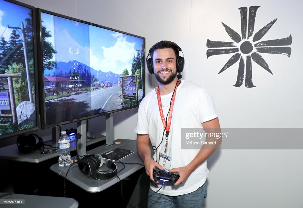 Jack Falahee plays Far Cry 5 during E3 2017 at Los Angeles Convention Center on June 15, 2017 in Los Angeles, California.