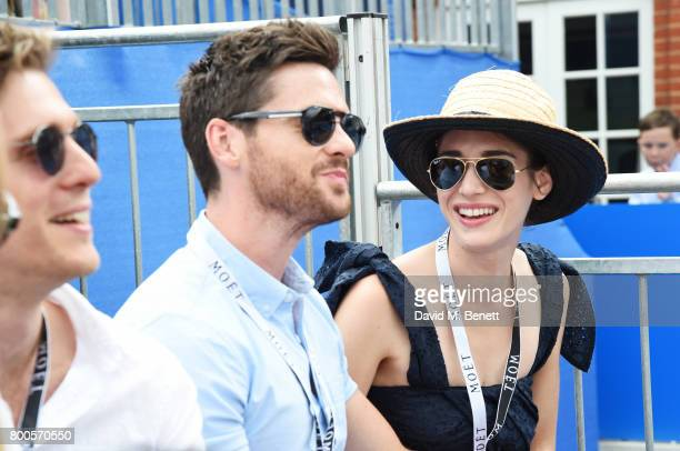 Jack Farthing Tom Riley and Lizzy Caplan celebrate with Moet Ice Imperial in the Moet Chandon Suite whilst watching the action unfold on Centre Court...