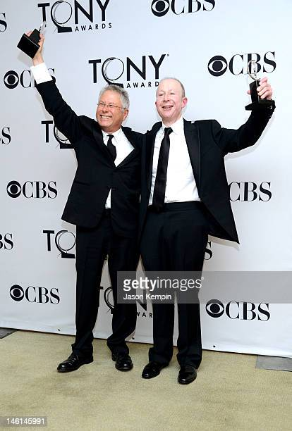 Jack Feldman and Alan Menken pose in the 66th Annual Tony Awards press room at The Beacon Theatre on June 10 2012 in New York City